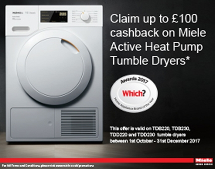 Miele - £100 Cashback On Selected T1 Tumble dryers