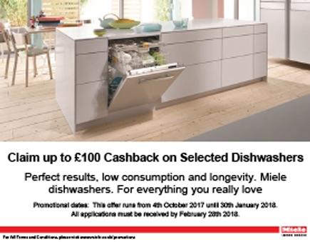 Miele £100 Cashback On Selected Dishwashers