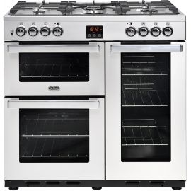 belling  90cm Dual Fuel Cook Centre 90dft-Stainless Steel 444444069