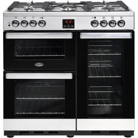belling CookCentre 90dft Dual Fuel Stainless Steel 444444070