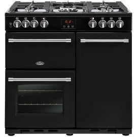 belling 444444121 90cm Farmhouse Dual Fuel Range Cooker Black