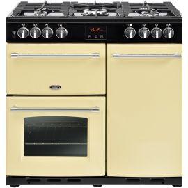 belling 4444444123 90cm Farmhouse Dual Fuel Range Cooker Cream