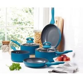 Matt Teal CERMALON 5-piece With Grey Sparkle Ceramic Non-stick Pan Set Kitchen