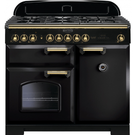 Rangemaster Classic Deluxe 100 Dual Fuel Black And Brass CDL100DFFBL/B