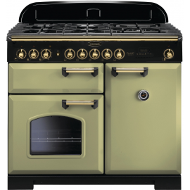 Rangemaster Classic Deluxe 100 Dual Fuel Olive Green/Brass CDL100DFFOG/B