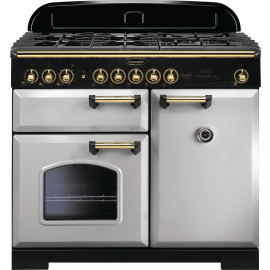 Rangemaster Classic Deluxe 100 Dual Fuel Royal Pearl/Brass CDL100DFFRP/B