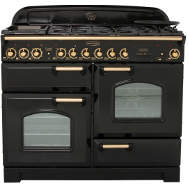 Rangemaster Classic Deluxe 110 Dual Fuel Black And Brass CDL110DFFBL/B
