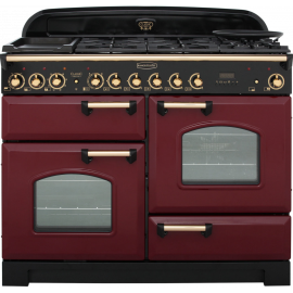 Rangemaster Classic Deluxe 110 Dual Fuel Cranberry And Brass CDL110DFFCY/B