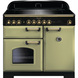 Rangemaster Classic Deluxe 100 Electric (Induction) Olive Green/Brass CDL100EIOG/B