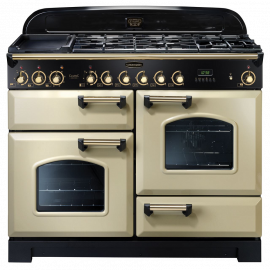 Rangemaster Classic Deluxe 110 Dual Fuel Cream And Brass CDL110DFFCR/B