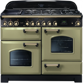 Rangemaster Classic Deluxe Dual Fuel Olive Green And Brass CDL110DFFOG/B