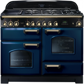 Rangemaster Classic Deluxe Dual Fuel Regal Blue And Brass CDL110DFFRB/B