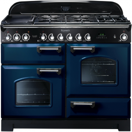 Rangemaster Classic Deluxe Dual Fuel Regal Blue And Chrome CDL110DFFRB/C