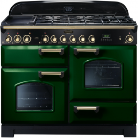 Rangemaster Classic Deluxe Dual Fuel Racing Green And Brass  CDL110DFFRG/B