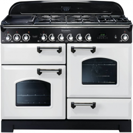 Rangemaster Classic Deluxe Dual Fuel White And Chrome CDL110DFFWH/C