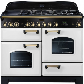 Rangemaster Classic Deluxe Dual Fuel White And Brass CDL110DFFWH/B
