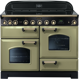 Rangemaster Classic Deluxe 110cm Electric Olive Green And Brass CDL110EIOG/B