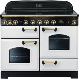 Rangemaster Classic Deluxe 110cm Electric White And Brass CDL110EIWH/B