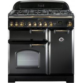 Rangemaster Classic Deluxe 90 Dual Fuel Black and Brass CDL90DFFBL/B