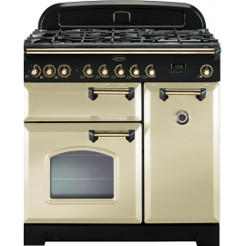 Rangemaster Classic Deluxe 90 Dual Fuel Cream And Brass CDL90DFFCR/B