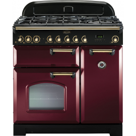 Rangemaster Classic Deluxe 90 Dual Fuel Cranberry And Brass CDL90DFFCY/B