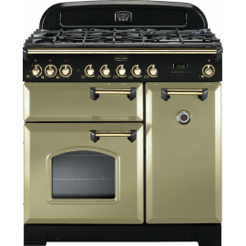 Rangemaster Classic Deluxe 90cm Dual Fuel Olive Green And Brass CDL90DFFOG/B