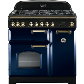 Rangemaster CDL90DFFRB/B Classic Deluxe 90cm Dual Fuel Regal Blue And Brass
