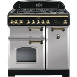 Rangemaster Classic Deluxe 90cm Dual Fuel White And Brass CDL90DFFWH/B