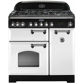 Rangemaster Classic Deluxe 90cm Dual Fuel White And Chrome CDL90DFFWH/C