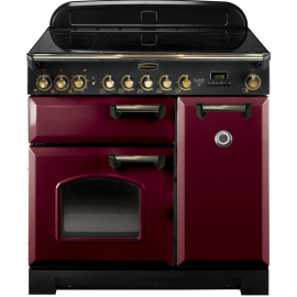 Rangemaster Classic Deluxe 90 Electric (Ceramic) Cranberry And Brass CDL90ECCY/B