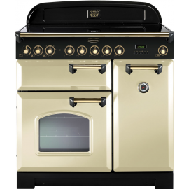 Rangemaster Classic Deluxe 90 Electric (Induction)  Cream And Brass CDL90EICR/B