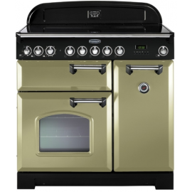 Rangemaster CDL90ECOG/B Ceramic Classic Deluxe 90cm Olive Green And Brass