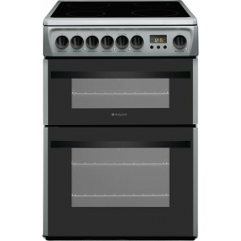 HOTPOINT DCN60S SILVER 60CM DOUBLE OVEN LED CLOCK CERAMIC HOB COOKER