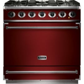 Falcon 900S Single Cavity Dual Fuel Range Cooker Cherry Red And Nickel Matt Pan Supports F900SDFRD/NM-