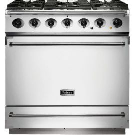 Falcon 900S Single Cavity Dual Fuel Range Cooker White And Nickel Matt Pan Supports F900SDFWH/NM-