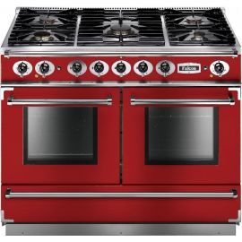Falcon 1092 Continental Dual Fuel Range Cooker Cherry Red And Nickel Matt Pan Supports FCON1092DFRD/NM-EU