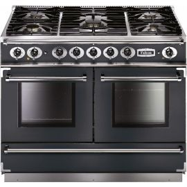 Falcon 1092 Continental Dual Fuel Range Cooker Slate And Nickel Matt Pan Supports FCON1092DFSL/NM-EU