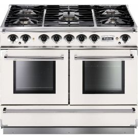 Falcon 1092 Continental Dual Fuel Range Cooker White And Nickel Matt Pan Supports FCON1092DFWH/CM-EU
