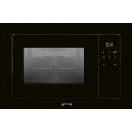 Smeg FMI120N1 Linea Built In Microwave With Grill In Black Glass