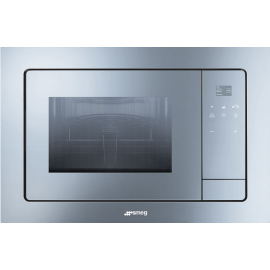 Smeg FMI120S1 Linea Built In Microwave With Grill In Silver Glass