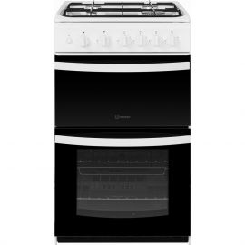 Indesit ID5G00KMW 50cm Twin Cavity Gas Cooker in White
