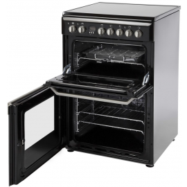 Indesit ID60C2K 60cm Double Oven Electric Cooker With Ceramic Hob - Black