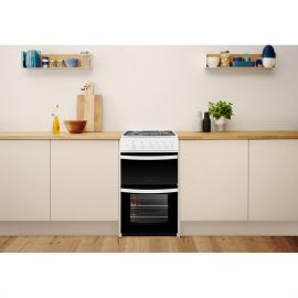 Indesit ID5G00KMW 50cm Wide Twin Cavity Gas Cooker
