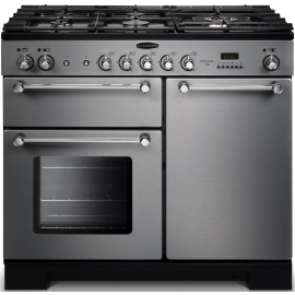 Rangemaster Kitchener 100 Dual Fuel Stainless Steel And Chrome KCH100DFFSS/C