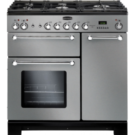 Rangemaster Kitchener 90 Dual Fuel Stainless Steel And Chrome KCH90DFFSS/C