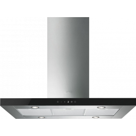 Smeg KI905NXE2 90cm Island Hood Stainless Steel With Black Glass Control Panel