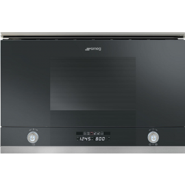 Smeg MP122N1 Linea Built In Microwave With Grill In Black Glass