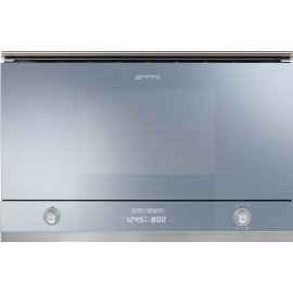 Smeg MP122S1 Linea Built In Microwave With Grill in Silver Glass