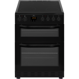 New World NWMID62CB 60cm Black Electric Twin Cavity Ceramic Cooker