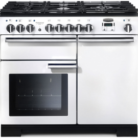 Rangemaster Professional Deluxe 100 Dual Fuel White And Chrome PDL100DFFWH/C